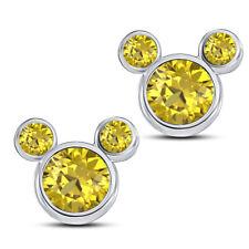 November Topaz Citrine Disney Parks Goldtone Birthstone Necklace Mickey Mouse