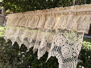 SHABBY-Vintage-Hand-Crochet-Lace-Window-Curtain-Valance-Cafe-Curtain-Beige-Ecru