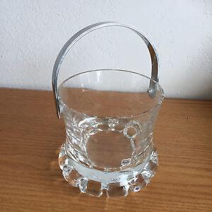 Kosta-Sweden-Small-Heavy-Crystal-Ice-Bucket-Chrome-Bail-Heavy-Block-Base-Vintage
