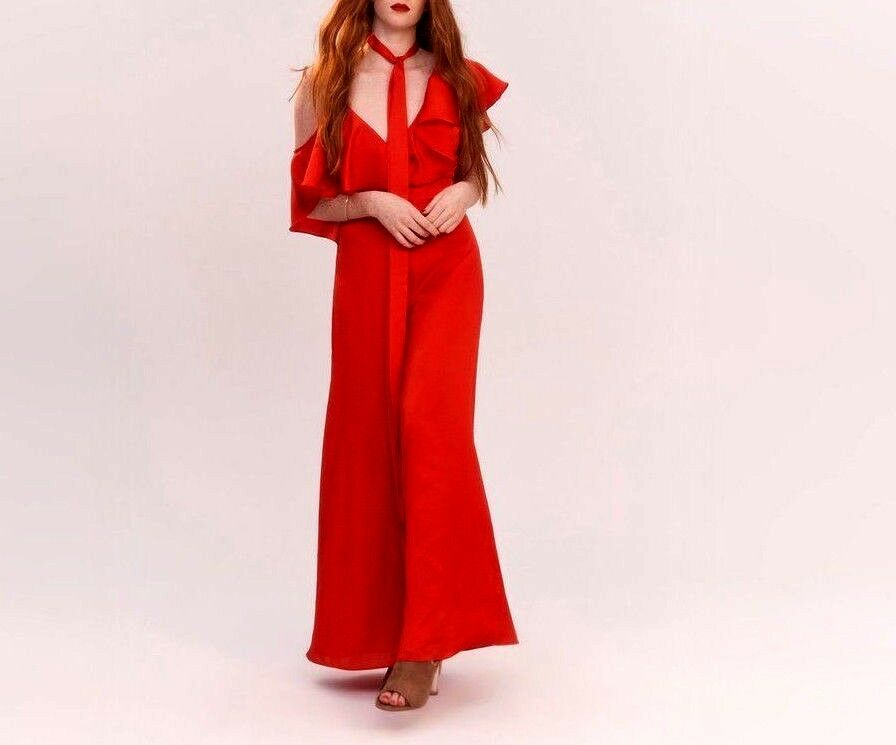 Fame And Partners The Ramsey Red Jumpsuit MSRP  299 Size 6 B 204 New