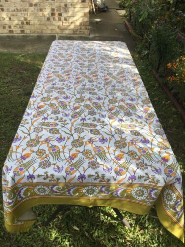 Table Cloth traditional hand printed in Indian Cotton 1.6m wide x 2.3m long