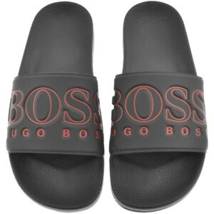 f7140d385 Details about NWT Hugo Boss Green Label Solar Rubber Slide Sandals in Navy  Red