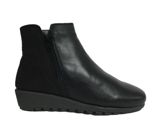 POMPEA Zapatos Mujer, Botín Bajo En Suave Cuero Negro Cuña Cómoda Art. Peggy 59