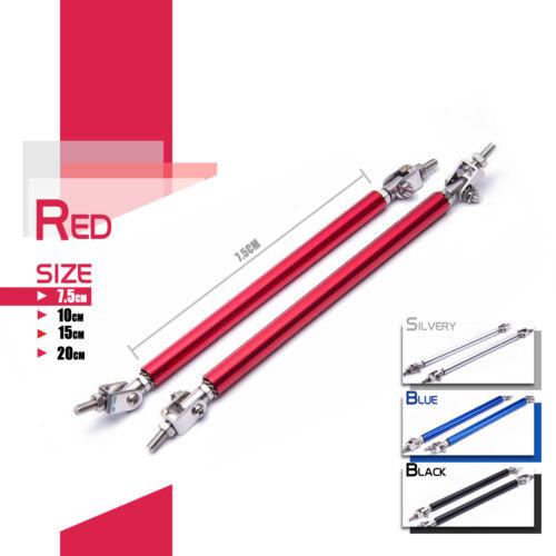 UK Red Universal Car Front Bumper Lip Splitter Rod Strut Tie Bar Support Kit JDM
