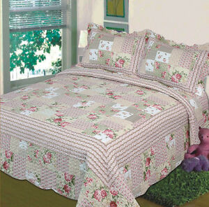 3 pc bedspread quilt beige floral print king size bed cover