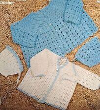 "B12-Crochet Pattern-Baby 's 3-ply Cardigan & Cappellini - 18"" - 0-3 LAV"