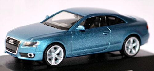 Audi A5 Coupe 8T 2007-11 in PC-Vitrine Display-Box topas blau metallic 1:87