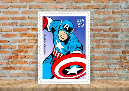 A3 A4 Sizes Captain America Vintage Marvel Stamp Poster or Canvas Art Print