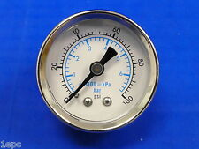 "Marshall Gauge 0-100 PSI 6 Bar kPA Fuel Oil Pressure Dual Scale White 1.5"" Dry"