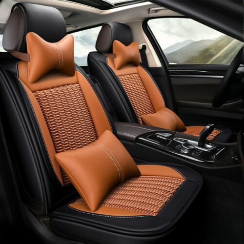 Deluxe Car Ice Silk/&PU Leather Seat Cover 5-Seats SUV Cushion Full Set Universal