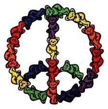 Grateful Dead Dancing Bears Peace Sign Hippie Rock Icon Iron On Applique Patch