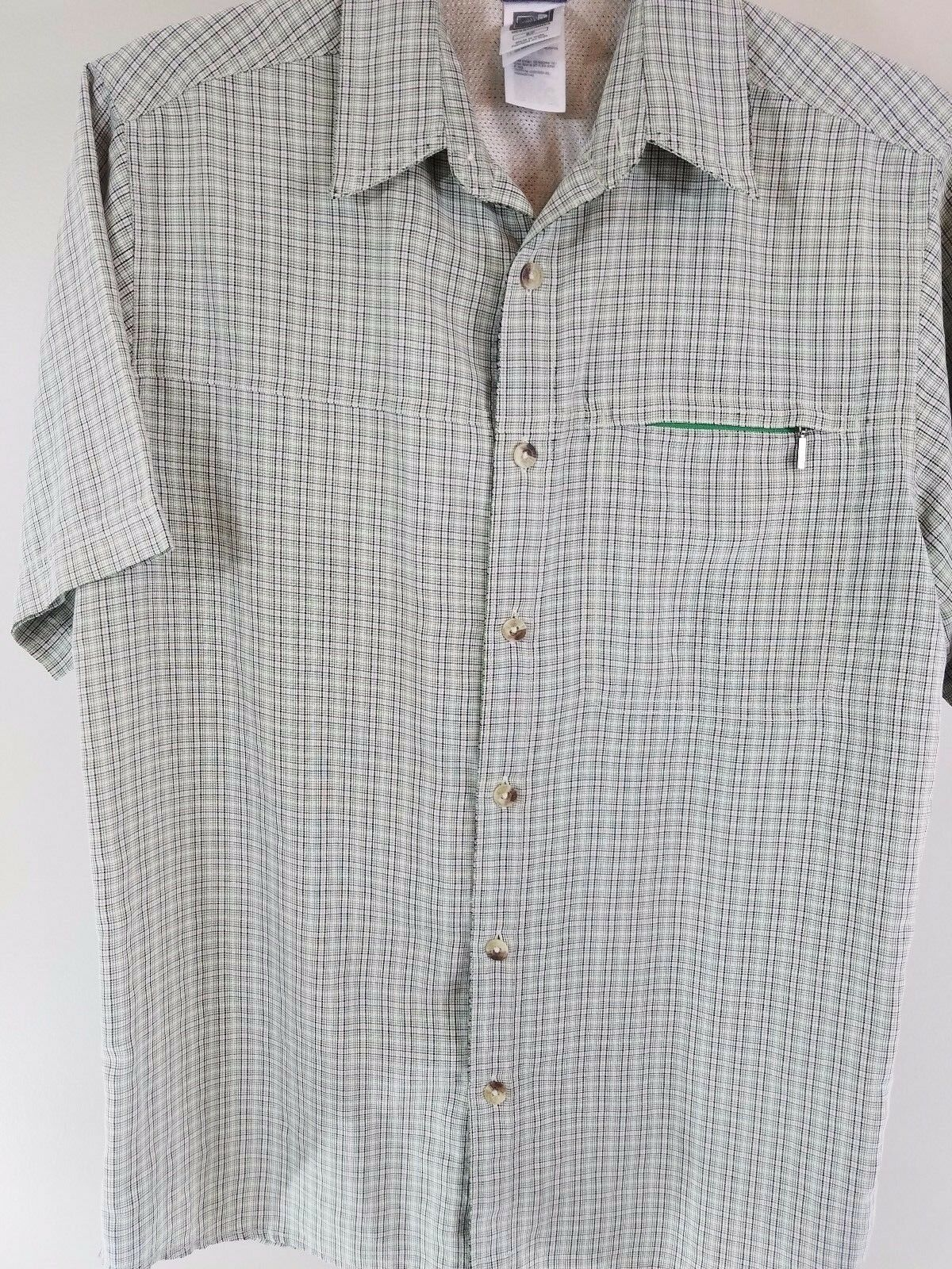 The North Face button front shirt Mens Small green plaid -A8