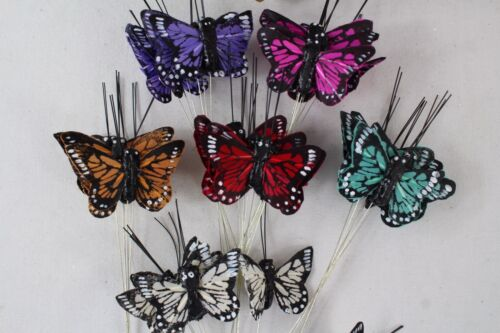 36 Real Feather Butterflies On Silver Wire Stem 4cm Mixed Colours