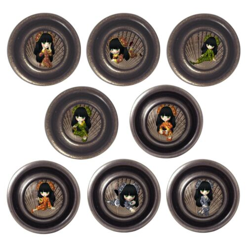 Brass or Pewter Knobs China Girls 32mm Cupboard Drawer Door Handles Decorated