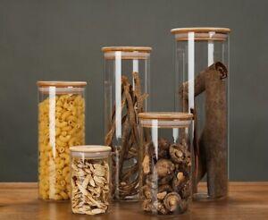 Vorratsglas Vorratsgläser Vorratsdosen Glasbehälter mit Bambus Deckel 5 Größen