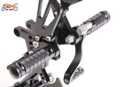 CNC Black Adjustable Rearsets Footpegs For Suzuki GSXR1000 2001 2002 2003 2004