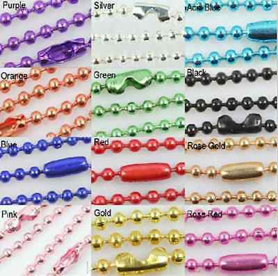 50pcs Ball Metal 2.4mm Beads Chains Necklace Finding