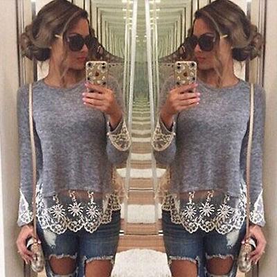 Women Lace Long Sleeve Casual Tops Blouse Shirt Ladies Loose Crochet Top UK 6-16