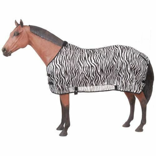 Tough-1 Zebra Print Mesh Fly Sheet with Adjustable Belly Surcingle