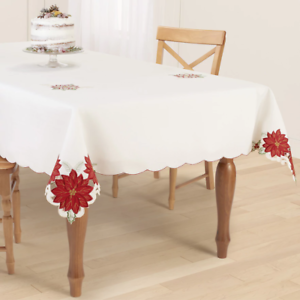 image is loading st nicholas square festive ivory poinsettia border fabric - Square Christmas Tablecloth