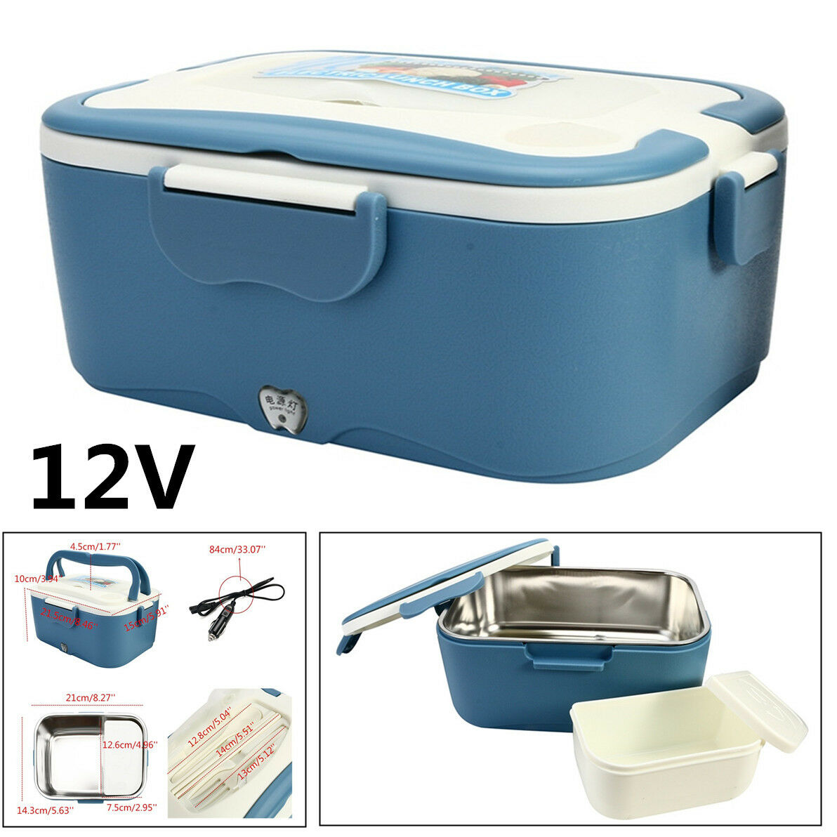 Portable 1.5L bluee Lunch Box 12V Car Electric Food Warmer Hot Rice Cooker Heater