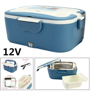 Portable 1.5L Blue Lunch Box 12V Car Electric Food Warmer Hot Rice Cooker Heater