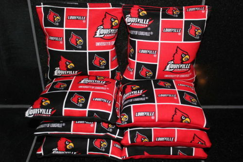 All Weather LOUISVILLE CARDINALS Cornhole Bean Bags Resin Fill Waterproof