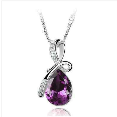 Womens Rhinestone Chain Crystal Necklace Pendant Waterdrop Jewelry Xmas Gift New