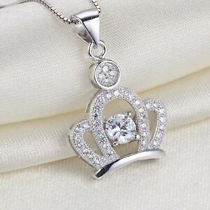 Women-s-White-Crystal-Crown-Pendant-Necklace-Fashion-925-Sterling-Silver-Jewelry