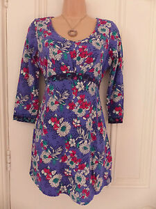 Per-Una-Weekend-UK-8-blue-with-red-white-green-black-floral-pattern-jersey-tunic