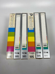 Lot-Of-6-Pre-Recorded-Mix-Label-T-120-VHS-Tapes-Sold-As-Used-Blanks