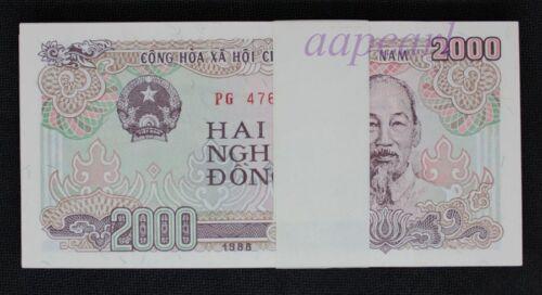 100pcs Vietnam 2000 Dong paper money UNC Banknotes brand new Uncirculated