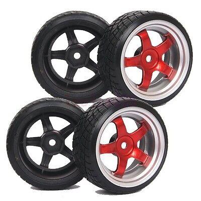 SET RC 1//10 On-Road Drift Car Hard Plastic Tyre Tires /& Wheel Rim GREEN 603-6013