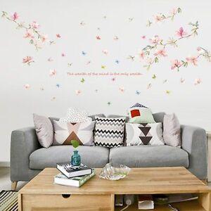 Wandtattoo Blumenranke Blüten Schmetterling Vogel