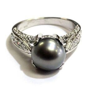 14k-yellow-gold-12ct-VS-H-diamond-pearl-ring-5-7g-estate-vintage-womens