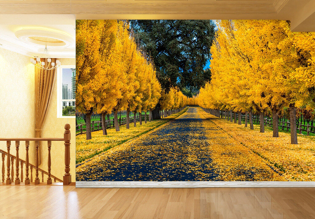3D Yellow leaves tree road 36 Wall Paper Print Decal Wall Deco Indoor wall Mural