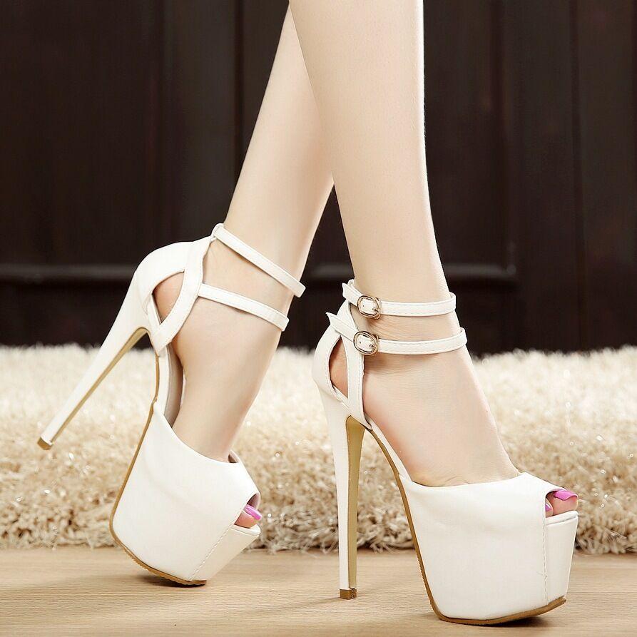 Womens Platform High Heels Buckle Open Toe shoes Party Club Stilettos Sandals Sz