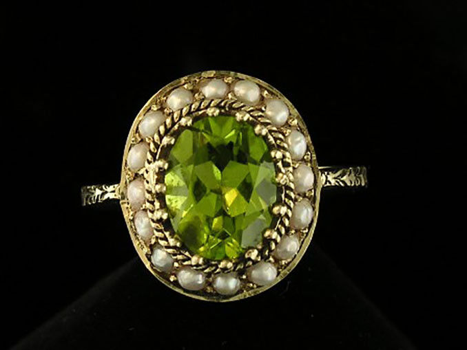 C827 Genuine 9ct gold Natural PERIDOT & PEARL Halo Cluster Ring made in yr size