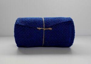 15-Feet-Roll-BURLAP-JUTE-Mesh-Ribbon-Blue-5-5-034-x-15-039-Natural-Unwired-Dyed
