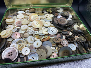 Large tin of vintage Shell buttons.  4.5 Lbs!