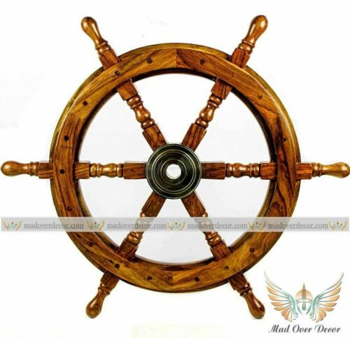 Details about  /SET OF 2 PCS SHIP WHEEL 24 Inch Nautical Brown Brass Vintage Wooden Wall Decor