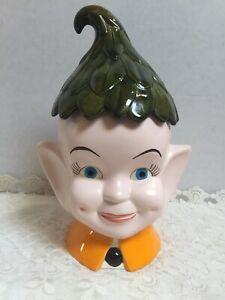 Vintage Elf Pixie Head Pottery Ceramic Cookie Jar w/ Rare