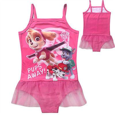 New Girls Kids Strappy Swimwear PAW PATROL One-piece Swimming Suit Swimsuit 3-7Y