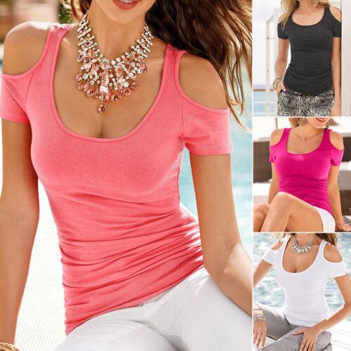Damen Kurzarm T-Shirt Schulterfrei Tops Casual Sommer Bluse Slim Tops Übergröße