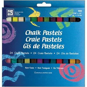 24 Vibrant Colors Hair Chalk Pastels Art Set Chalkboard Student Traveling Artist