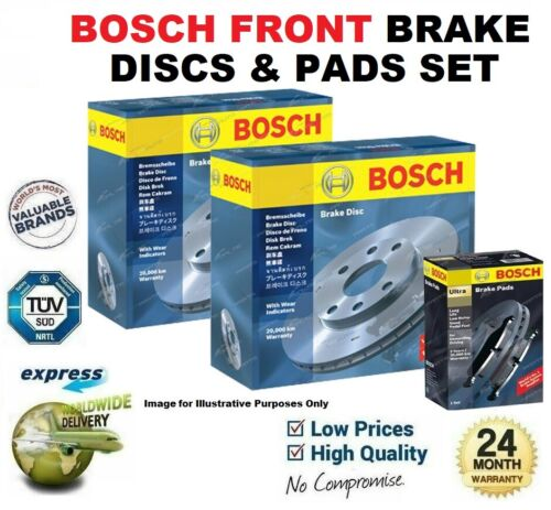 BOSCH FRONT BRAKE DISCS & PADS SET for PEUGEOT PARTNER Box 1.6 2008->on
