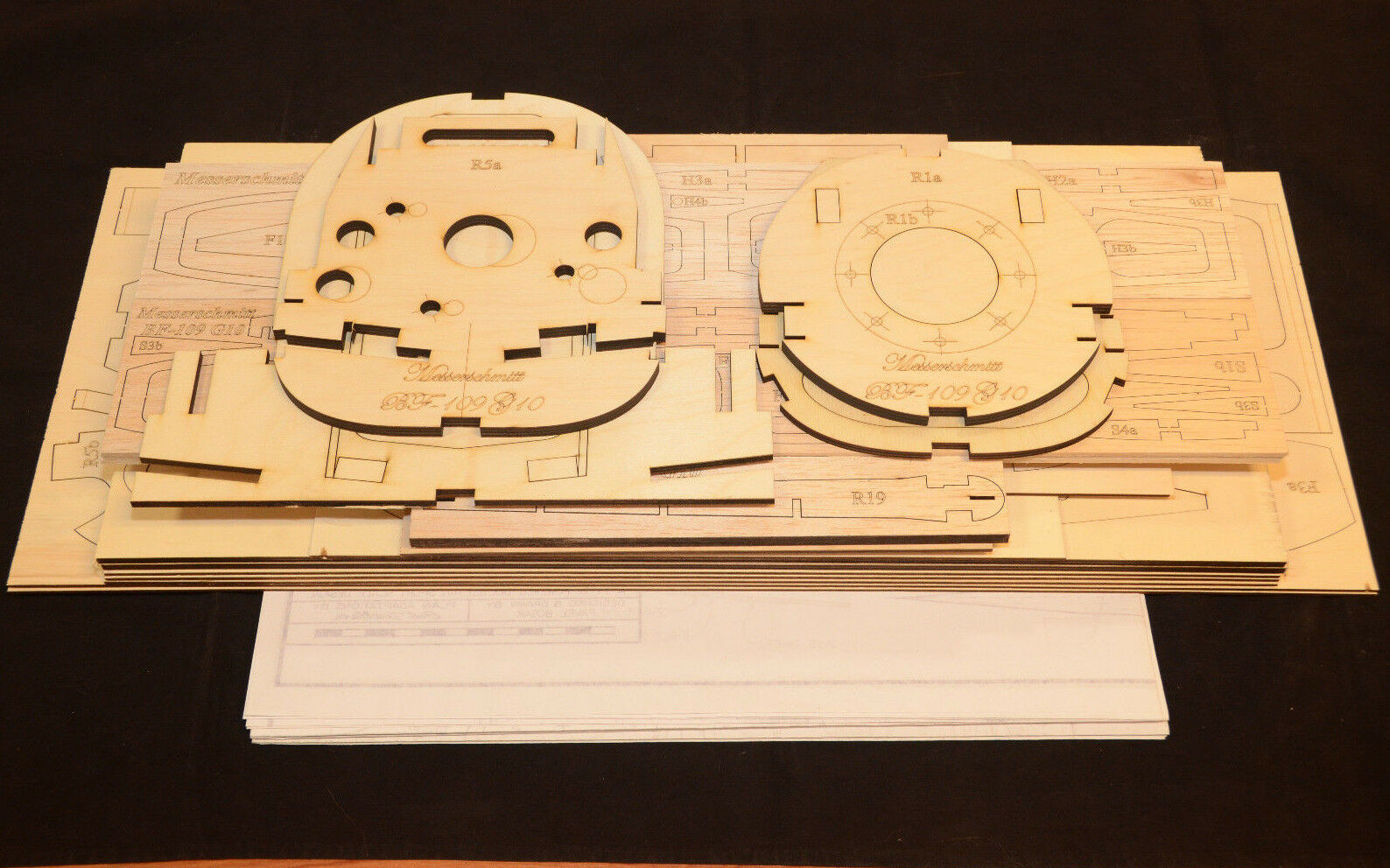 Giant Scale MESSERSCHMITT BF-109G-10 Laser Cut Short Kit & Plans, 88 in ws, READ