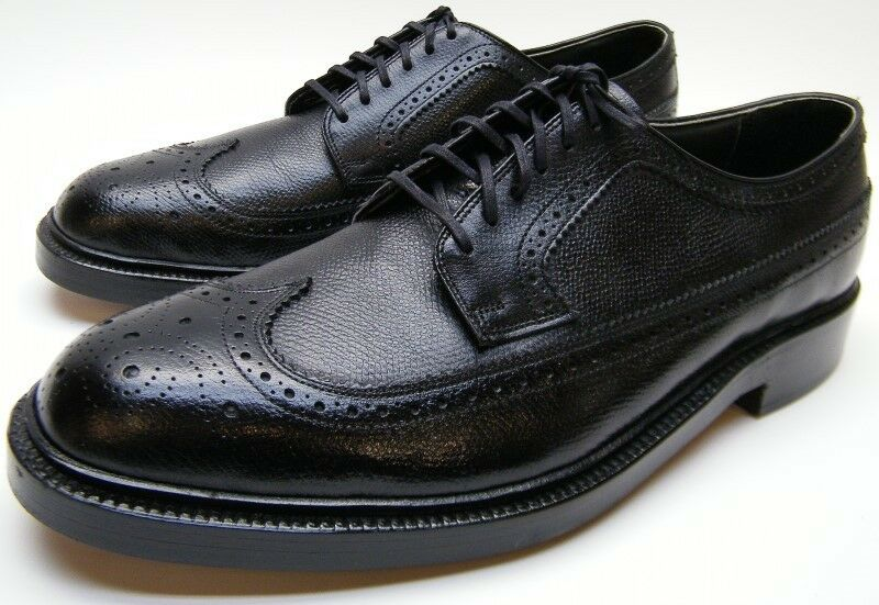 Uomo VTG NEW SEARS BLK VCLEAT LEATHER WINGTIP BROGUE OXFORD DRESS SHOES SZ 10 D