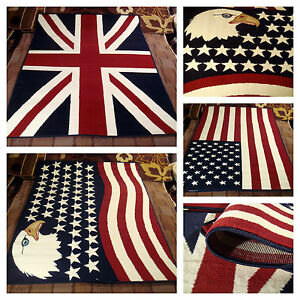 Fino A 3x2 Tappeto Moderno Union Jack Bandiera Inglese Uk