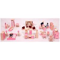 Brand Doll House Furniture Full Set Of 6 Room Furnitures + Family Dolls